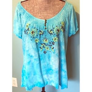 One World Embroidered Turquoise Blouse 2X plus sz
